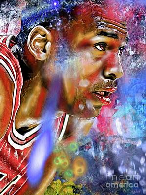 Basketball Abstract Painting - Mj Painted by Daniel Janda