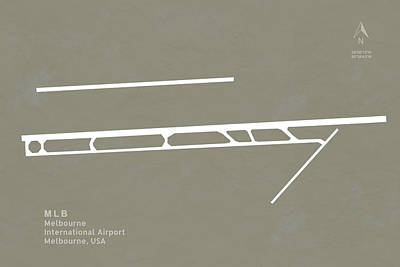 Melbourne Digital Art - Mlb Melbourne Airport In Melbourne Runway Silhouette by Jurq Studio