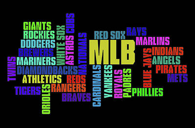 Athletes Royalty-Free and Rights-Managed Images - MLB Team Typography by Ricky Barnard
