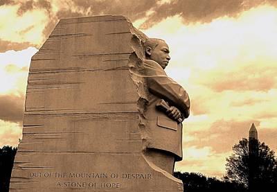 Photograph - Mlk Jr Monument And Washington Monument by Danielle R T Haney
