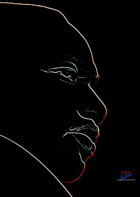 Digital Art - Mlk Red Outline by Joe Paradis