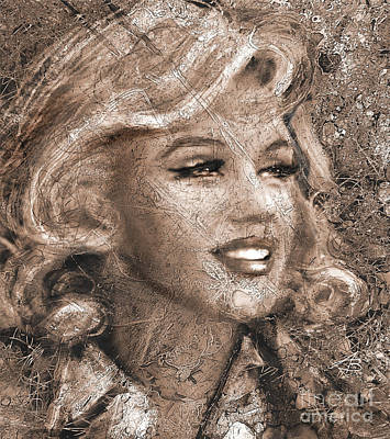 Portrait Painting - Mm Ice Sepia by Angie Braun
