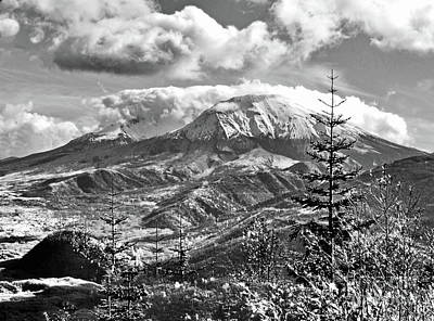 Photograph - mMt. St.Helens Autumn in Black and White by Ansel Price