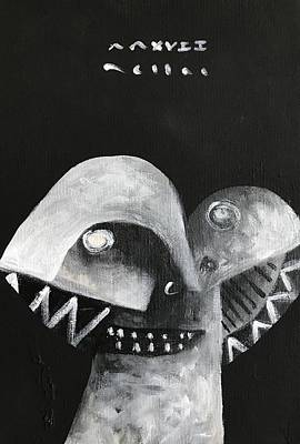 Outsider Art Painting - Mmxvii Masks For Despair No 5 by Mark M Mellon