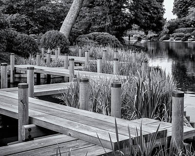 Photograph - Mo Bot Garden Zig Zag Bridge Dsc06977 B N W by Greg Kluempers