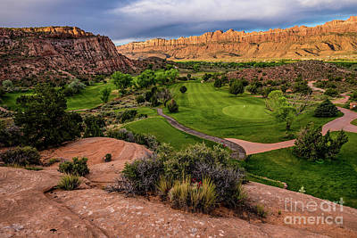 Sports Royalty-Free and Rights-Managed Images - Moab Desert Canyon Golf Course at Sunrise by Gary Whitton