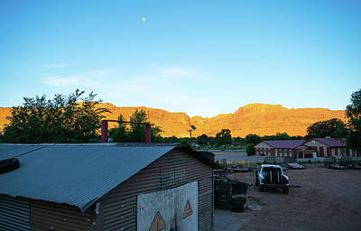 Photograph - Moab Morning Moon And Derelict Shop by Tom Cochran