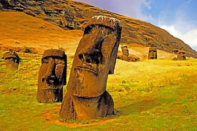 Moai Art Print by Dennis Cox
