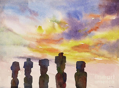 Painting - Moai Statue Sunrise by Ryan Fox