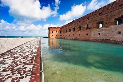 Moat And Walls Of Fort Jefferson Art Print by George Oze