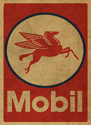 Station Mixed Media - Mobil Oil Gas Station Sign Vintage Art by Design Turnpike