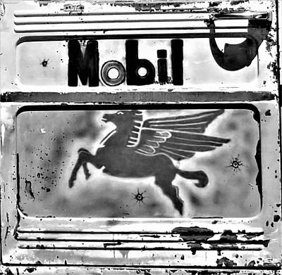 Photograph - Mobil Pegasus B W  by Rob Hans