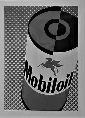 Photograph - Mobiloil B W by Rob Hans