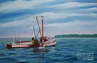 Clammer Painting - Mobjack Waterman by Hugh Harris