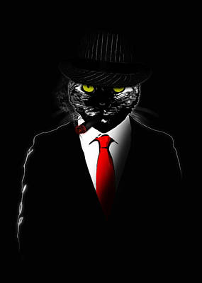 Glow Digital Art - Mobster Cat by Nicklas Gustafsson