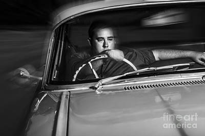 Mobster Driving Getaway Vehicle During Car Chase Art Print