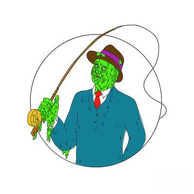 Mobster Fisherman Fly Rod Reel Grime Art Art Print