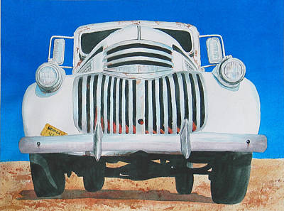 Dodge Truck Painting - Moby Truck by Judy Hilbish