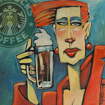 Water Droplets Sharon Johnstone - Mocha Double Shot with Starbucks Logo by Tim Nyberg