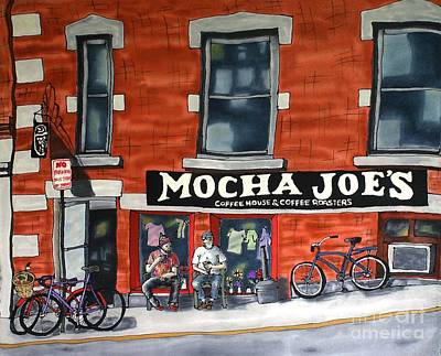 Fiber Art Painting - Mocha Joe's by Linda Marcille