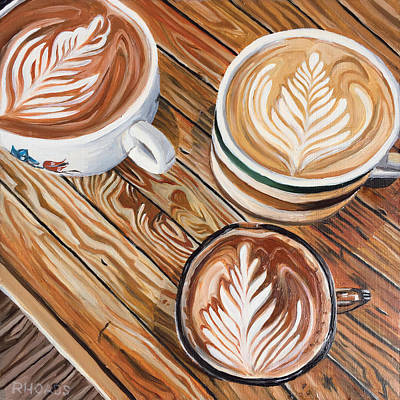Coffee Painting - Mocha Trinity by Nathan Rhoads