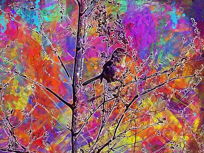 Mockingbird Digital Art - Mockingbird Bird Tree Songbird  by PixBreak Art