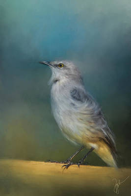 Mockingbird Painting - Mockingbird On A Windy Day by Jai Johnson