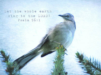 Mockingbird Digital Art - Mockingbird Scripture by Denise Beverly