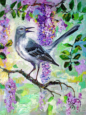 Mockingbird Painting - Mockingbird Song In Wisteria by Ginette Callaway