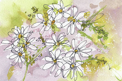 Painting - Mockseed White Wildflower Fl017 by Kathleen McElwaine