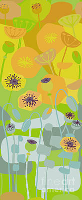 Tangerines Drawing - Mod Yellow Poppies by CR Leyland