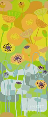 Mod Yellow Poppies Art Print
