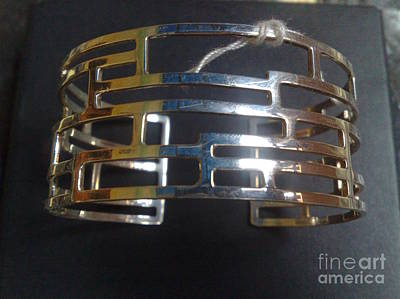 Sterling Silver With Ceramics Jewelry - Model 2 - Ss Plain Cuff With Home Gate Entrance Designs by fmnjewel - Fernando Situmeang