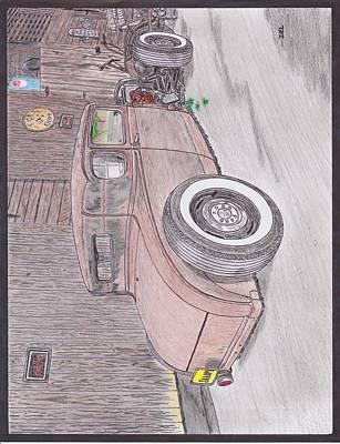 Street Rod Drawing - Model A At The Barn by Darrell Leonard