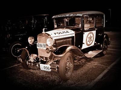 Model A Culver City Police Bw Art Print by David Dunham