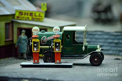 Photograph - Model Castrol Oil Tanker Truck At Shell Petrol Gas Station  by Imran Ahmed
