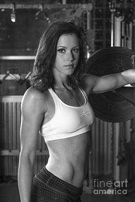 Photograph - Model Emily Working Out In Gym By Barbells by Dan Friend