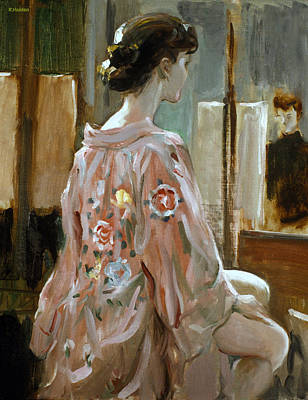 Painting - Model In Kimono by Robert Holden