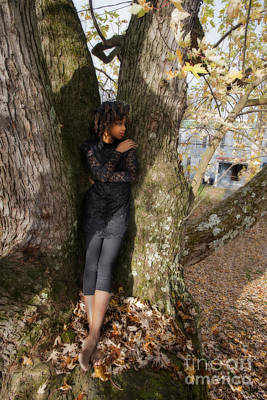 Photograph - Model In Large Tree by Dan Friend