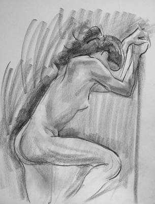Drawing - Model Leaning On Pole by Robert Holden