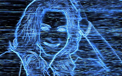 Digital Art - Model Pose In Neon by Mario Carini