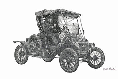 Ford Model T Car Drawing - Model T Ford Pointillism Drawing by Mike Oliver