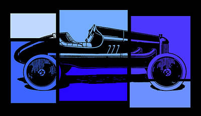 Digital Art - Model T Ford Racer Pop Blue by David King