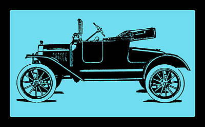 Digital Art - Model T Ford Roadster Pop Blue by David King