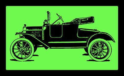 Digital Art - Model T Ford Roadster Pop Green by David King