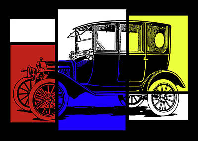 Digital Art - Model T Sedan Pop Rby by David King