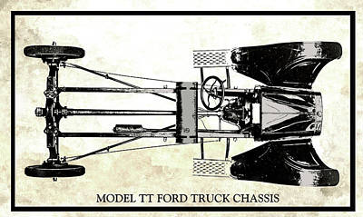 Digital Art - Model Tt Ford Truck Chassis by David King