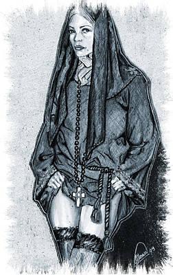 Female Mixed Media - Model Wearing A Religeous Uniform by Alban Dizdari