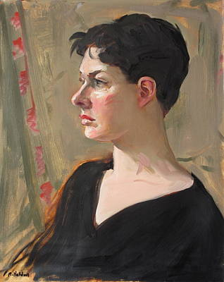 Painting - Model Wearing Black V-neck Sweater by Robert Holden