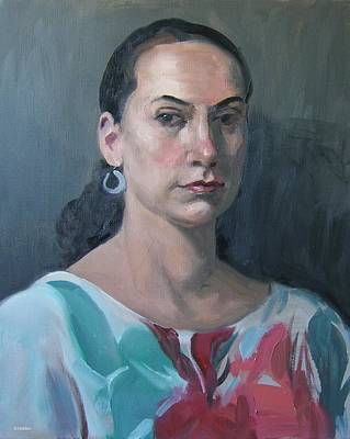 Painting - Model Wearing Flower Blouse by Robert Holden